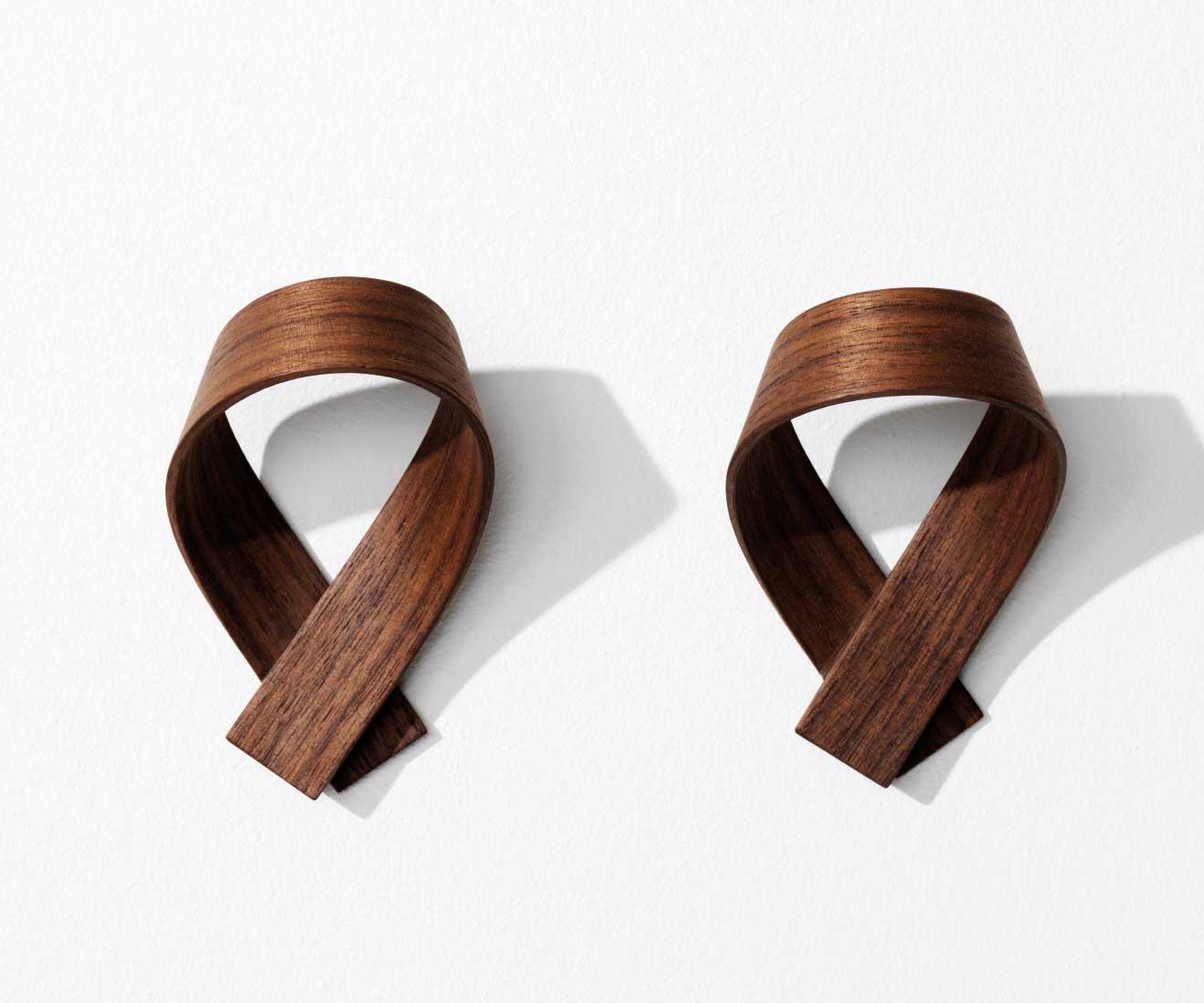 Motarasu Products - Ribbon coat hooks by Akiko Ken Made - Walnut