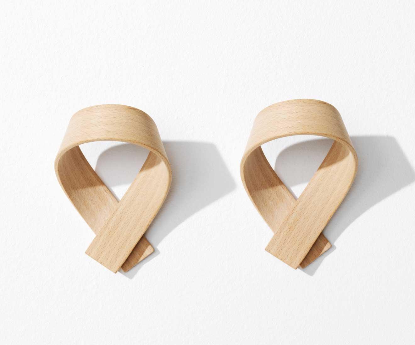 Motarasu Products - Ribbon coat hooks by Akiko Ken Made - beech