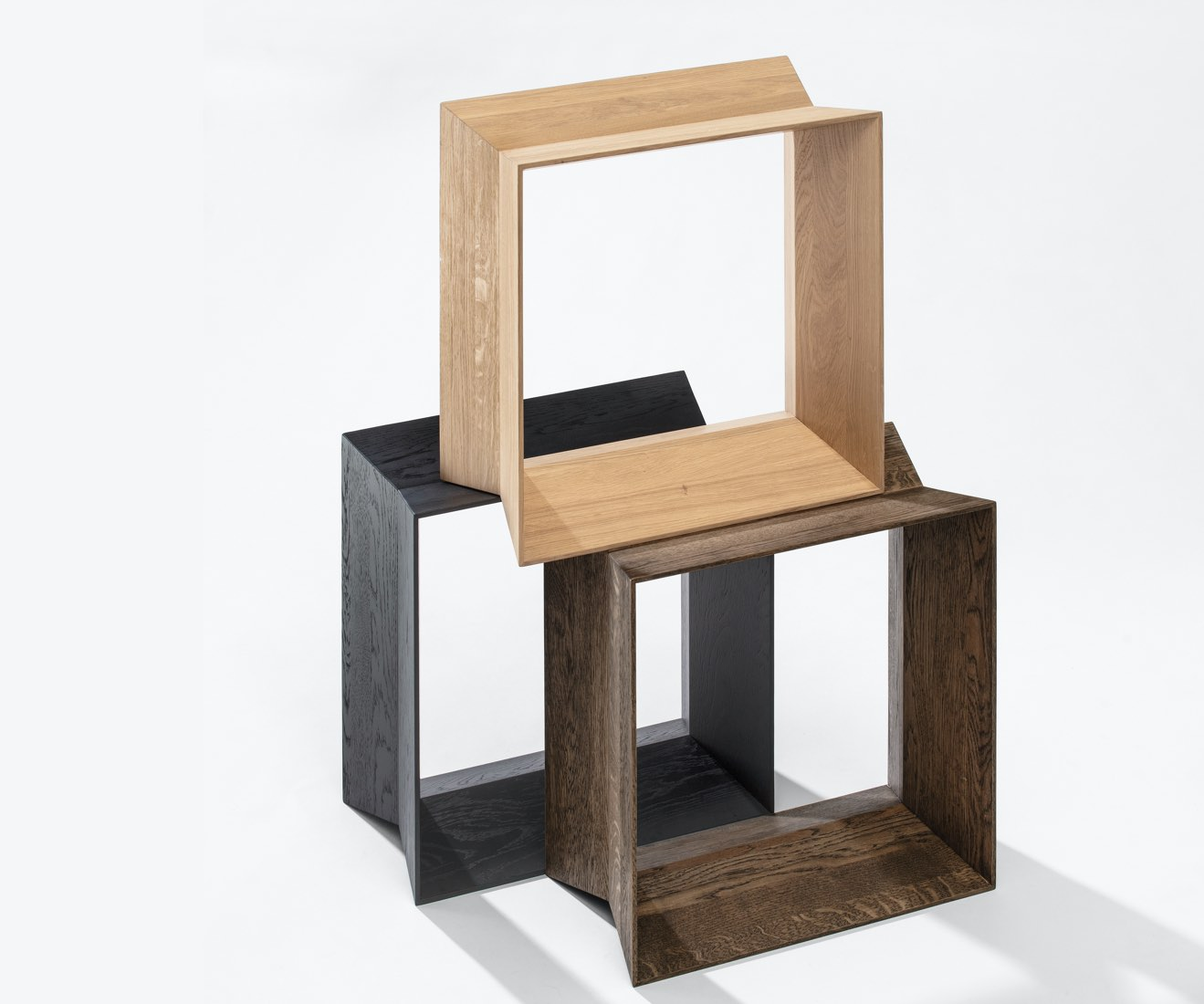 Motarasu Products - Reflex Stool in Natural, Black and Black Oil by Akiko Ken Made