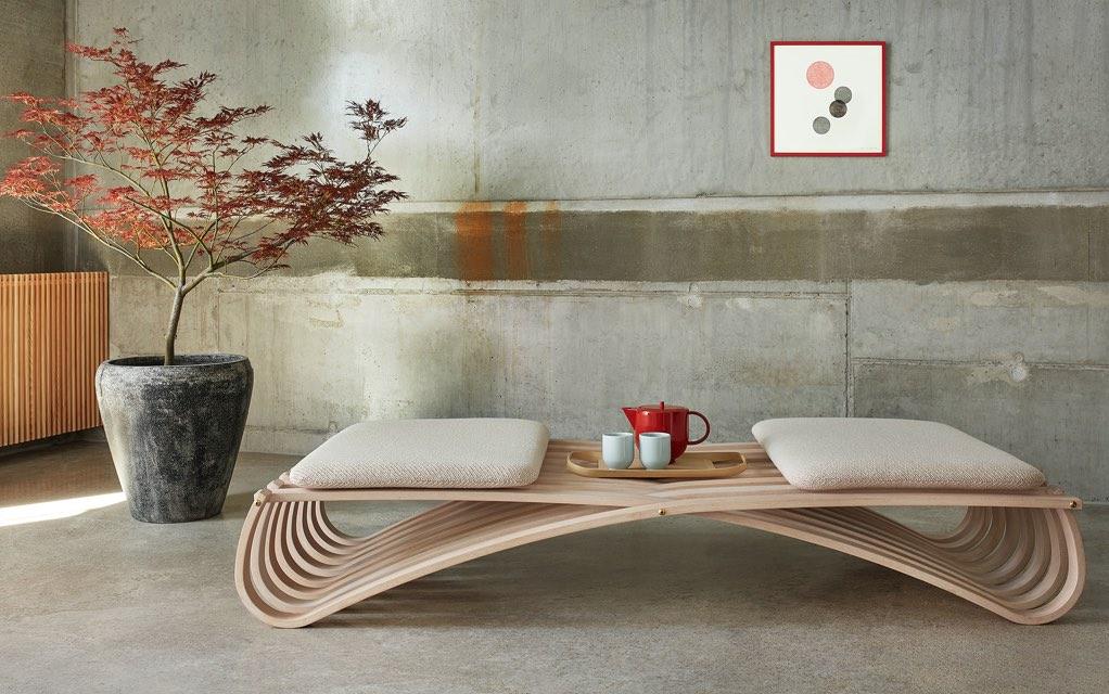 Motarasu designs - Jundo daybed by Mads Emil Garde - Yoko tea set by Stilleben - wood works by Masayuki Koitabashi
